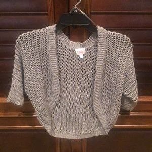 Justice shimmery short sleeve cardigan size 10